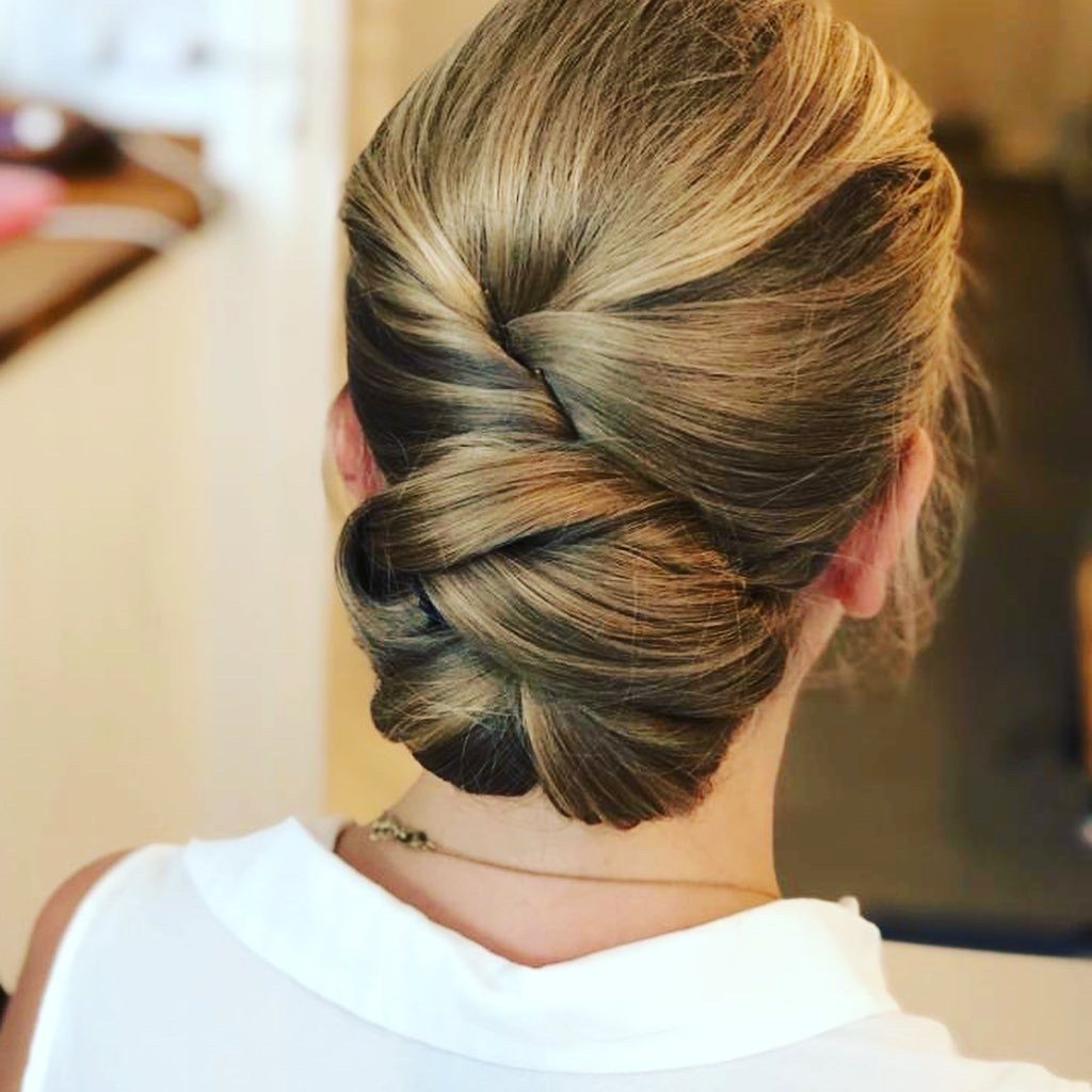 low bun hair up style bridal hairstyle by Pam Wrigley