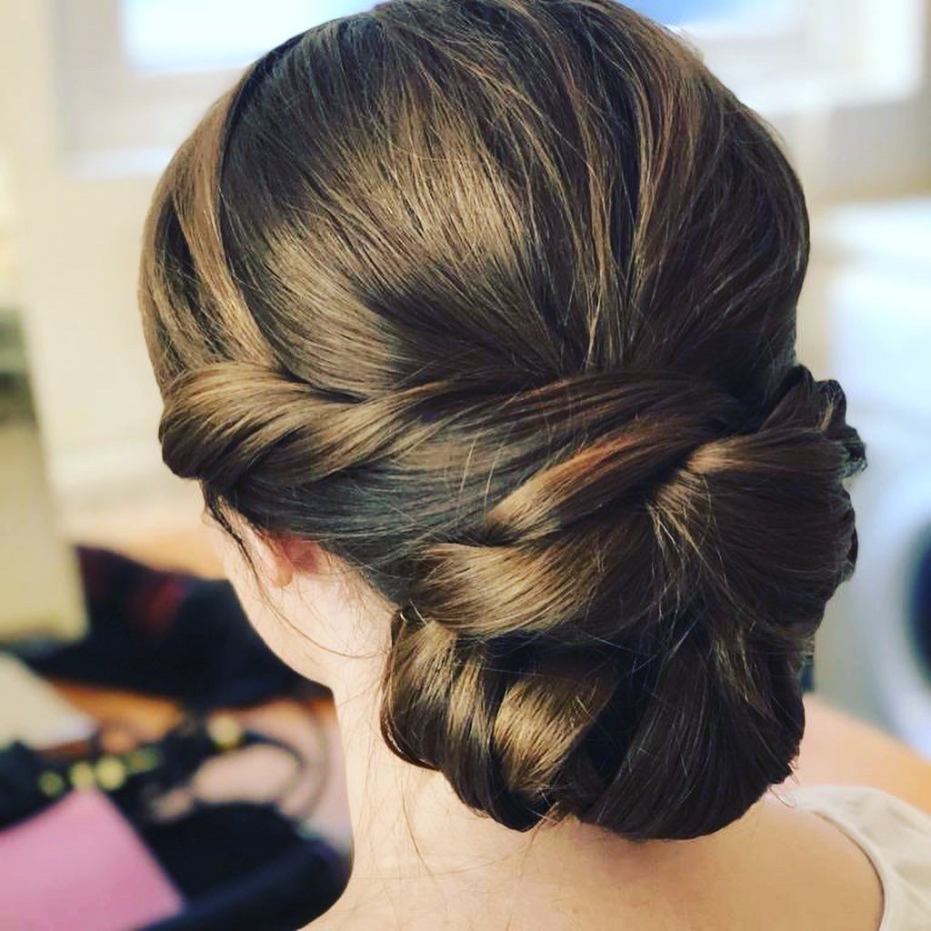 low bun hair up style bridal hairstyle by Pam Wrigley wedding hairstylist
