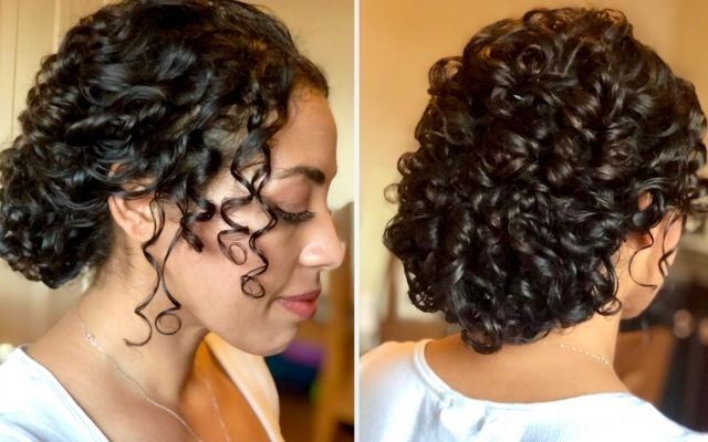 hairstyle tutorial for naturally curly hair working with natural curls to create wedding day and bridal up-do hairstyles