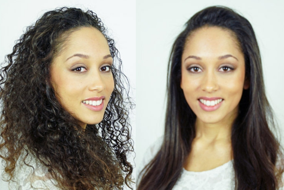 natural curl hair blow dry curly to straight tutorial
